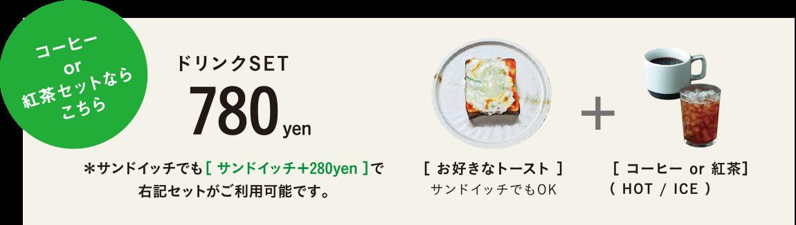 ナチュールのトーストランチセット(ドリンクセット)